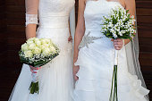 close up of wedding of a lesbian couple