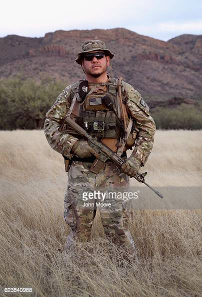 Civilian paramilitary volunteer Michael LeMarte poses for a portrait after a patrol for Arizona Border Recon near the USMexico border on November 16...