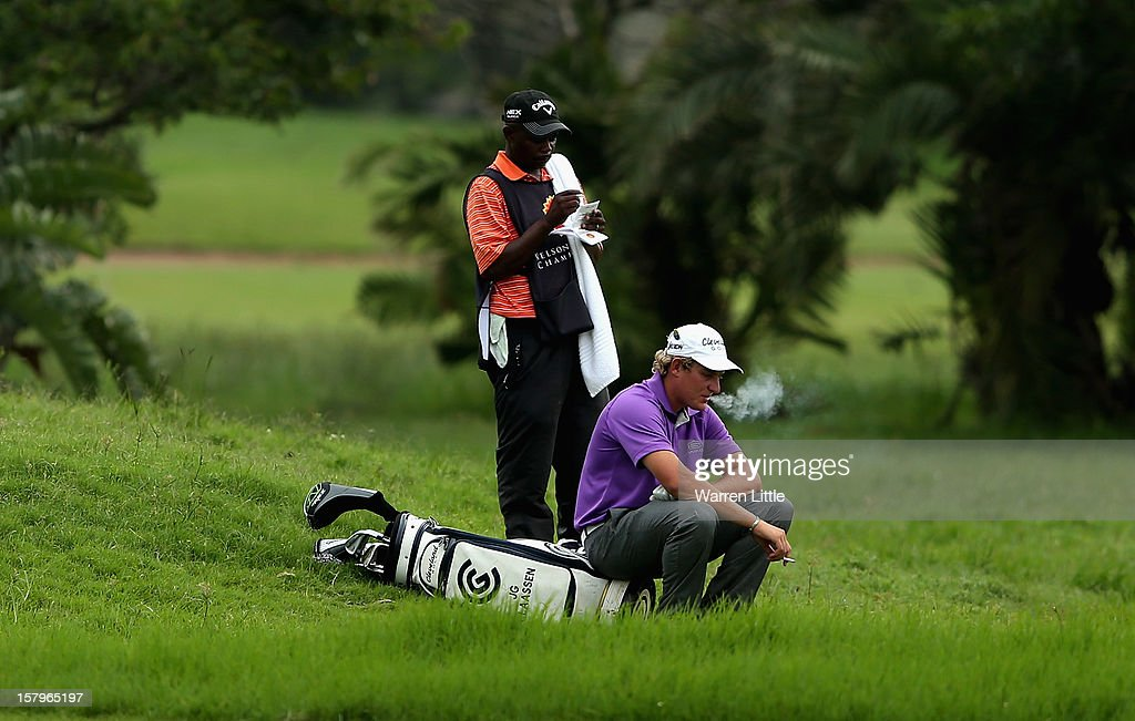Claassen of South Africa waits to play during the first round of The Nelson Mandela Championship presented by ISPS Handa at Royal Durban Golf Club on December 8, 2012 in Durban, South Africa.