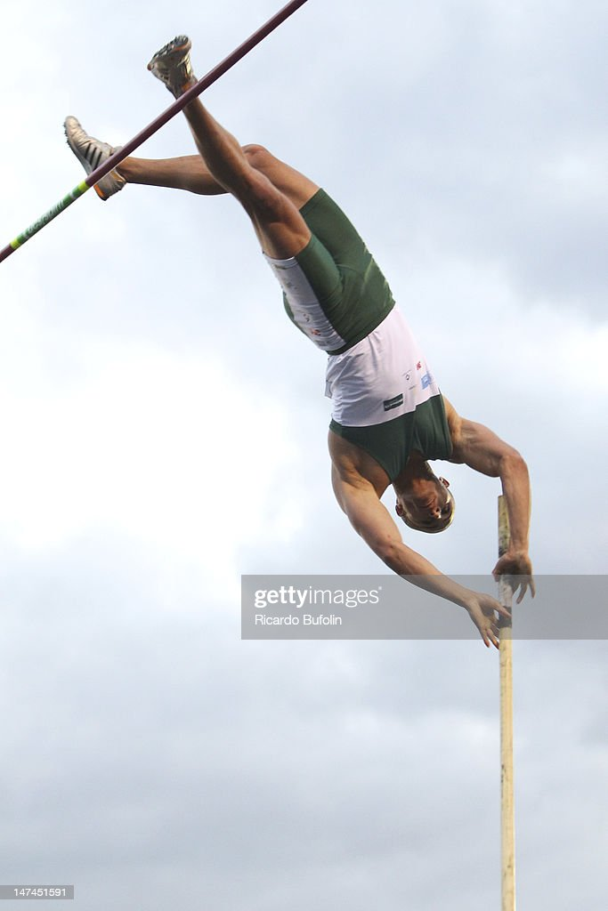 Claber Damiao da Silva, from Brazil, competes in the Pole Vault Final event during the third day of the Trofeu Brazil/Caixa 2012 Track and Field Championship at êcaro de Castro Mello Stadium on June 29, 2012 in Ibirapuera, Sao Paulo, Brazil.