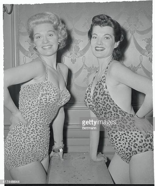 Clad in leopard skin bathing suits lovelies Marian Moore and Mara McAfee display their feminine talents as they audition or a forthcoming Broadway...