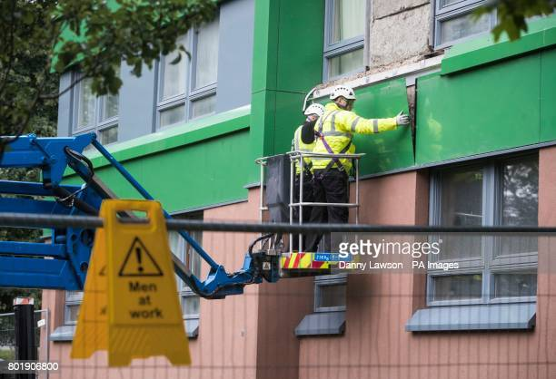 Cladding is removed from Hanover tower block in Sheffield Yorkshire as Prime Minister Theresa May has said there must be a quotmajor national...