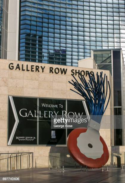 Claes Oldenburg scupture 'Typewriter Eraser' is viewed near the Aria Hotel Casino in the CityCenter complex on May 29 2017 in Las Vegas Nevada...