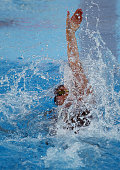 Claire Adams competes in the Women's 100 LC Meter Backstroke final during the 2015 Phillips 66 National Championships at the Northside Swim Center on...
