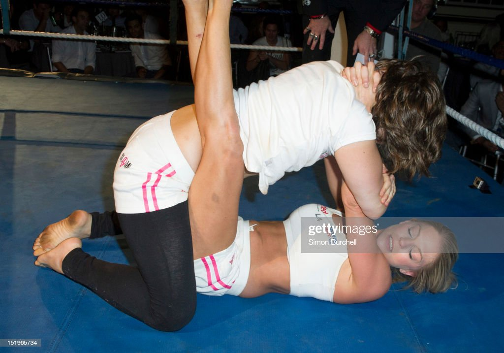 Claire and Sonia wrestle during the Loaded Magazine female wrestling tournament - Queen Of The Ring at Bloomsbury Ballroom on September 13, 2012 in London, England.