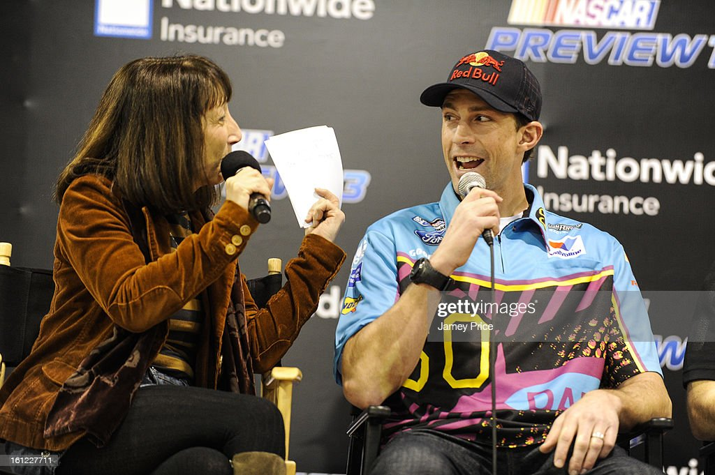 Claire B. Lang and Travis Pastrana talk on stage on Saturday afternoon at the NASCAR Hall of Fame on February 9, 2013 in Charlotte, North Carolina.