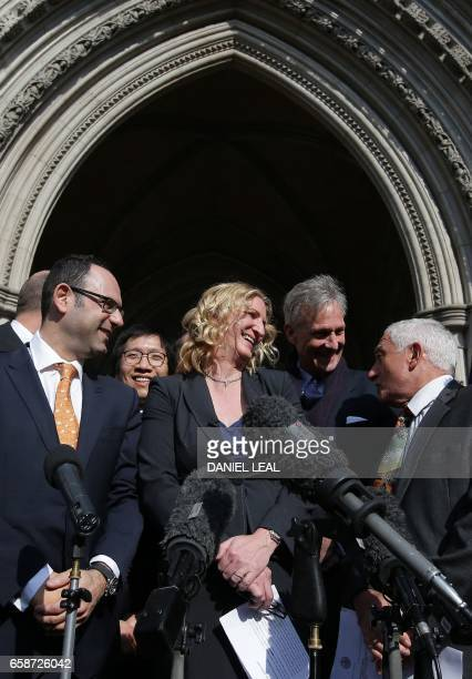 Claire Blackman wife of jailed former British soldier Alexander Blackman Marine A reacts outside the The Royal Courts of Justice in London on March...