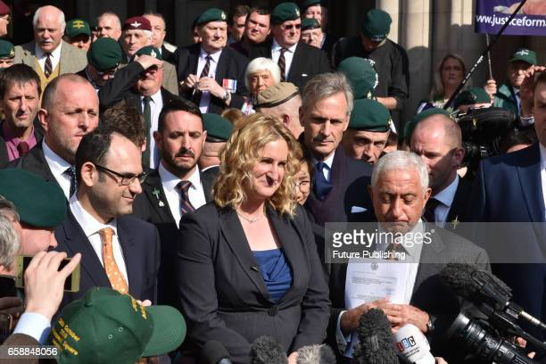Claire Blackman wife of Sergeant Alexander Blackman speaks to media outside Royal Courts of Justice on March 28 2017 in London England A Royal Marine...