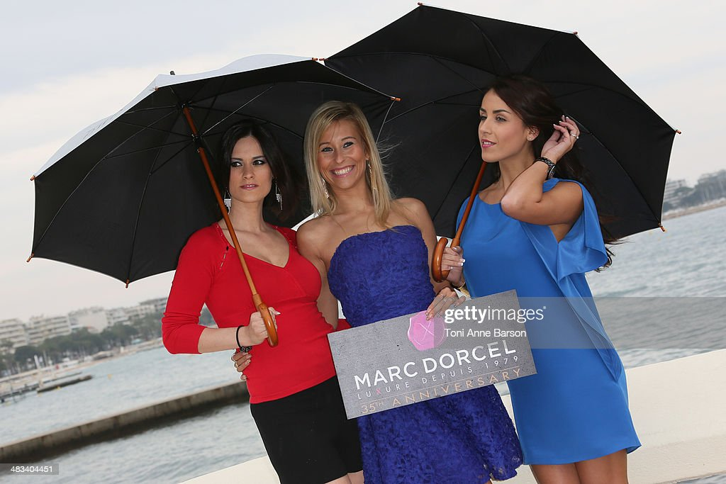 Claire Castel, Lola Reve, Jade Laroche attend photocall for Dorcel 35th Anniversary at MIPTV 2014 at Hotel Majestic Jetty on April 8, 2014 in Cannes, France.