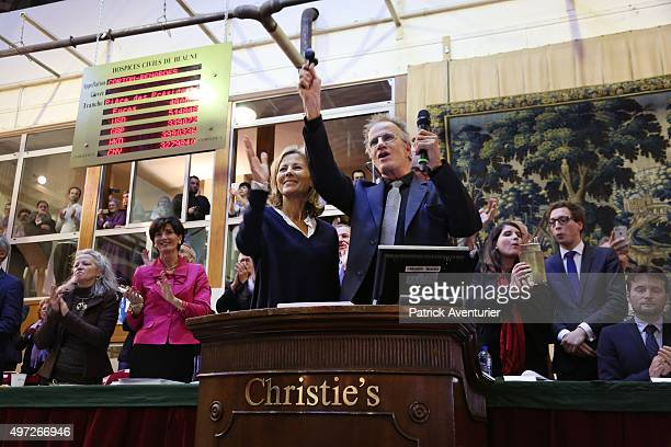 Claire Chazal and Christophe Lambert attend the 155th Charity Wine Auction at Hospices de Beaune on November 15 2015 in Beaune France The Hospices de...