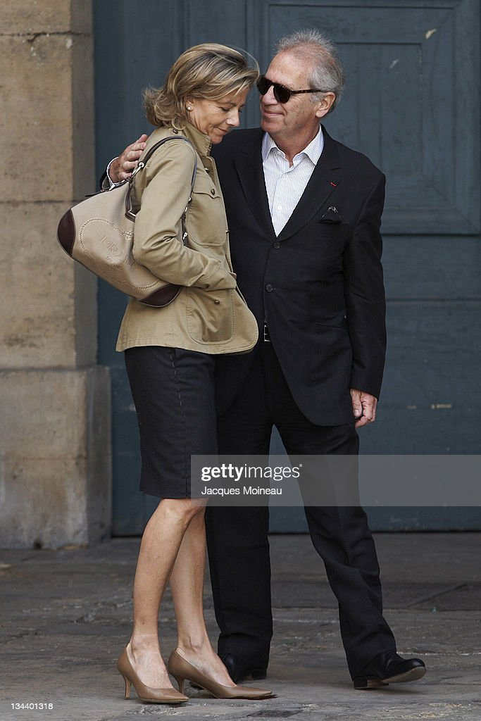 Claire Chazal and guest during Jean-Pierre Cassel Funeral at St Eustache Church of Paris in Paris, France.