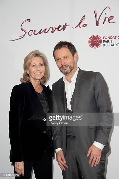 Claire Chazal and Marc Olivier Fogiel attend the diner 'sauver la vie' Eric Pfrunder Hosts 'Sauver La Vie' Diner for Paris Descartes Fondation at...