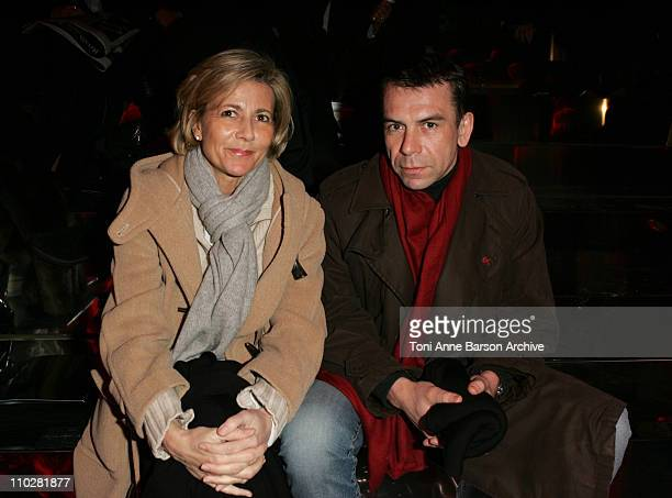 Claire Chazal and Philippe Torreton during Paris Fashion Week Autumn/Winter 2006 Ready to Wear Christian Dior Front Row at Grand Palais in Paris...