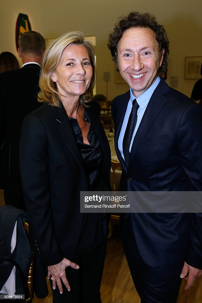 Claire Chazal and Stephane Bern attend the Societe des Amis du Musee d'Art Moderne du Centre Pompidou : Dinner Party. Held at Centre Pompidou on April 12, 2016 in Paris, France.