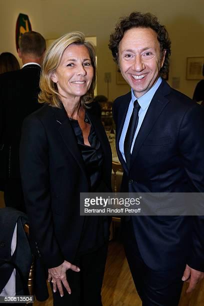 Claire Chazal and Stephane Bern attend the Societe des Amis du Musee d'Art Moderne du Centre Pompidou Dinner Party Held at Centre Pompidou on April...