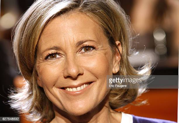 Claire Chazal on the set of the TV show 'Au Field de la Nuit'