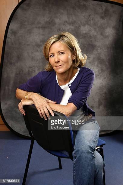 Claire Chazal on the set of TV show 'Au Field de la Nuit'