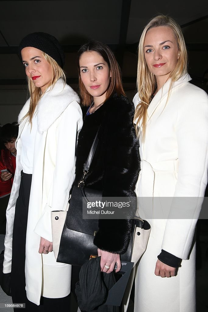 Claire Courtin, Prisca and Virginie Courtin attend the Mugler Men Autumn / Winter 2013 show as part of Paris Fashion Week on January 16, 2013 in Paris, France.