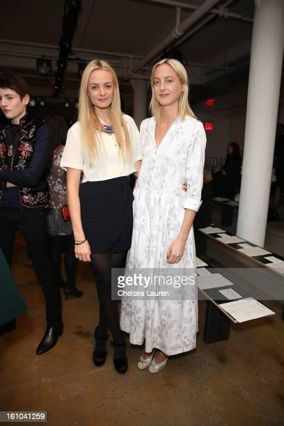 Claire CourtinClarins and Virginie CourtinClarins attend the Suno fall 2013 fashion show during MADE Fashion Week at Milk Studios on February 8 2013...