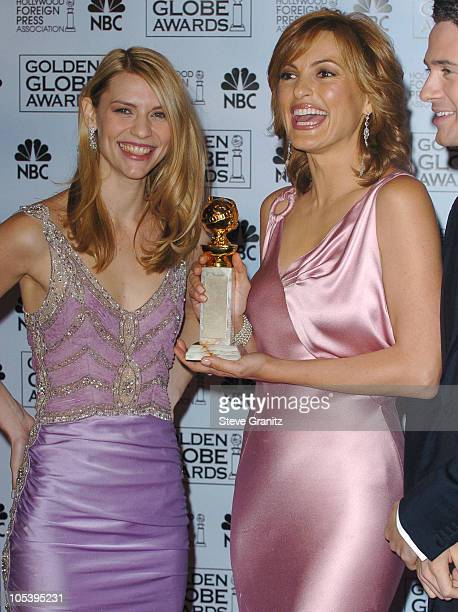 Claire Danes and Mariska Hargitay during The 62nd Annual Golden Globe Awards Press Room at Beverly Hilton Hotel in Beverly Hills California United...