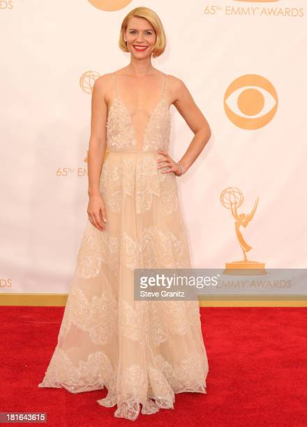Claire Danes arrives at the 65th Annual Primetime Emmy Awards at Nokia Theatre LA Live on September 22 2013 in Los Angeles California