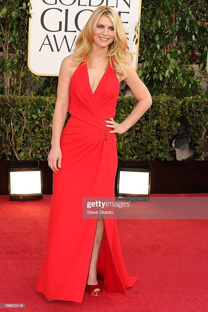 Claire Danes arrives at the 70th Annual Golden Globe Awards at The Beverly Hilton Hotel on January 13, 2013 in Beverly Hills, California.