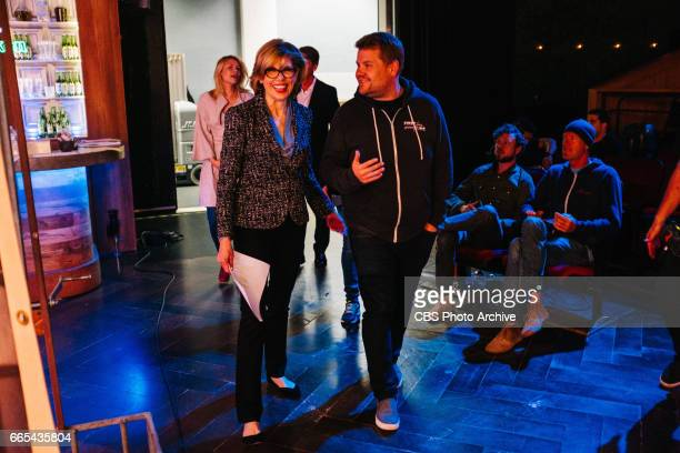 Claire Danes Christine Baranski and Jack McBrayer rehearse The Bold and The Lyrical with James Corden during 'The Late Late Show with James Corden'...