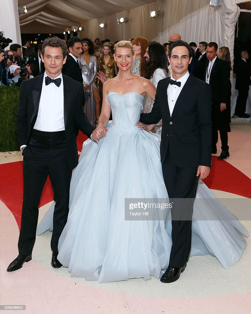 Claire Danes, Zac Posen, and Hugh Dancy attend the 2016 Costume Institute Gala at the Metropolitan Museum of Art on May 02, 2016 in New York, New York.