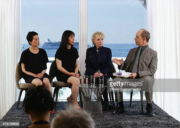 Claire Denis and Todd McCarthy attend Kering Talks 'Women In Motion' at the Kering suite duiring The 68th Annual Cannes Film Festivalon May 17 2015...