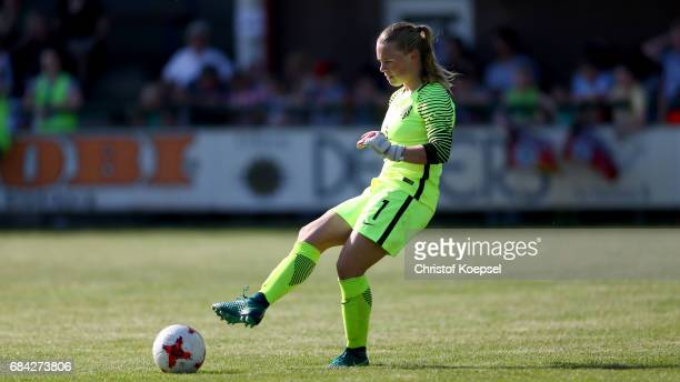 Claire Dinkla of the Netherlands kicks the ball during the U15 girl's international friendly match between Germany and Netherlands at Getraenke...