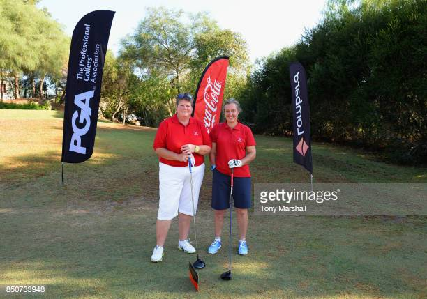 Claire Duffy of Bramshaw Golf Club and Alex Sizer of Bramshaw Golf Club pose on the 1st tee during The WPGA Lombard Trophy Final Day One on September...