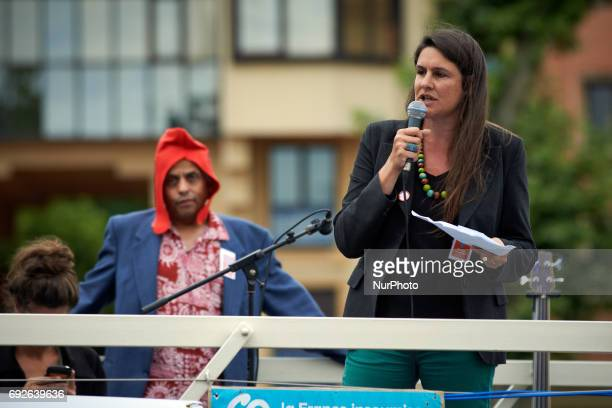 Claire Dujardin candidate in toulouse speaks to people JeanLuc Mélenchon leader of the farleft movement 'France Insoumise' was in Toulouse to support...