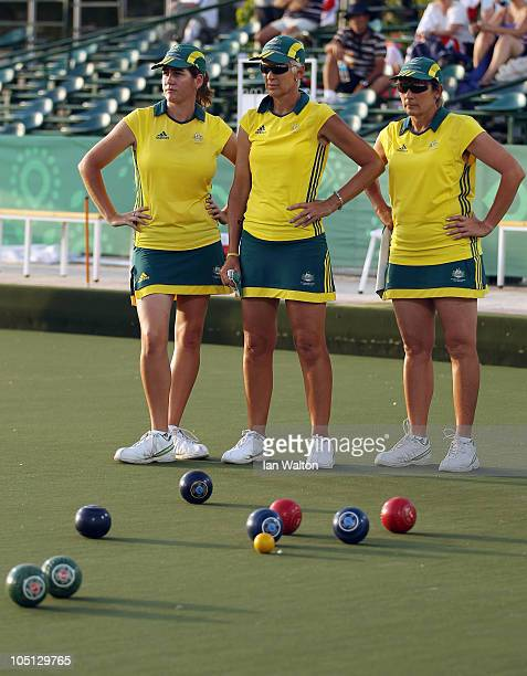 Claire Duke Julie Keegan and Sharyn Renshaw of Australia look on during their Women's Triples lawn bowls match against South Africa at JN Sports...