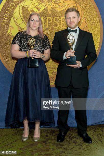 Claire Ellis and Tom Foster display their awards at the 64th Annual Motion Picture Sound Editors Golden Reel Awards at The Westin Bonaventure Hotel...