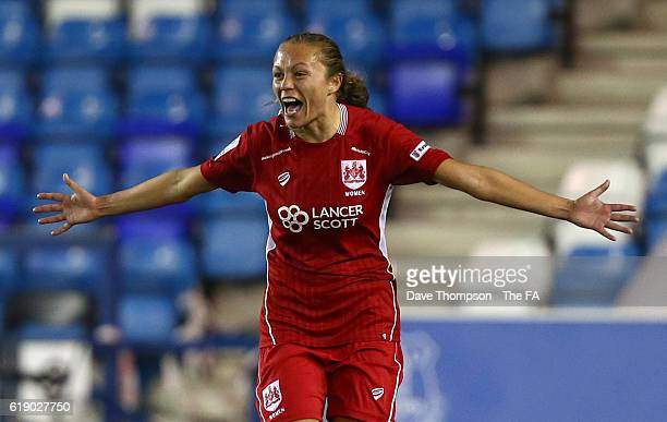 Claire Emslie of Bristol City Women celebrates scoring her sides third goal of the game during the WSL 2 match between Everton Ladies and Bristol...