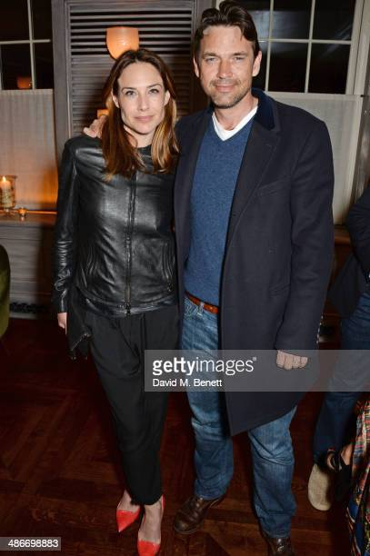 Claire Forlani and Dougray Scott attend an exclusive dinner hosted by Charles Finch Mulberry and PORTER Magazine for Julian Schnabel at 34 Grosvenor...