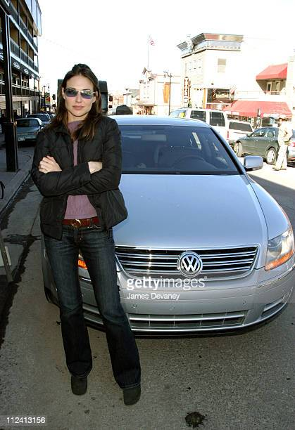 Claire Forlani with the VW Phaeton on Main St during 2004 Sundance Film Festival VW at Sundance 2004 Claire Forlani in Park City Utah United States