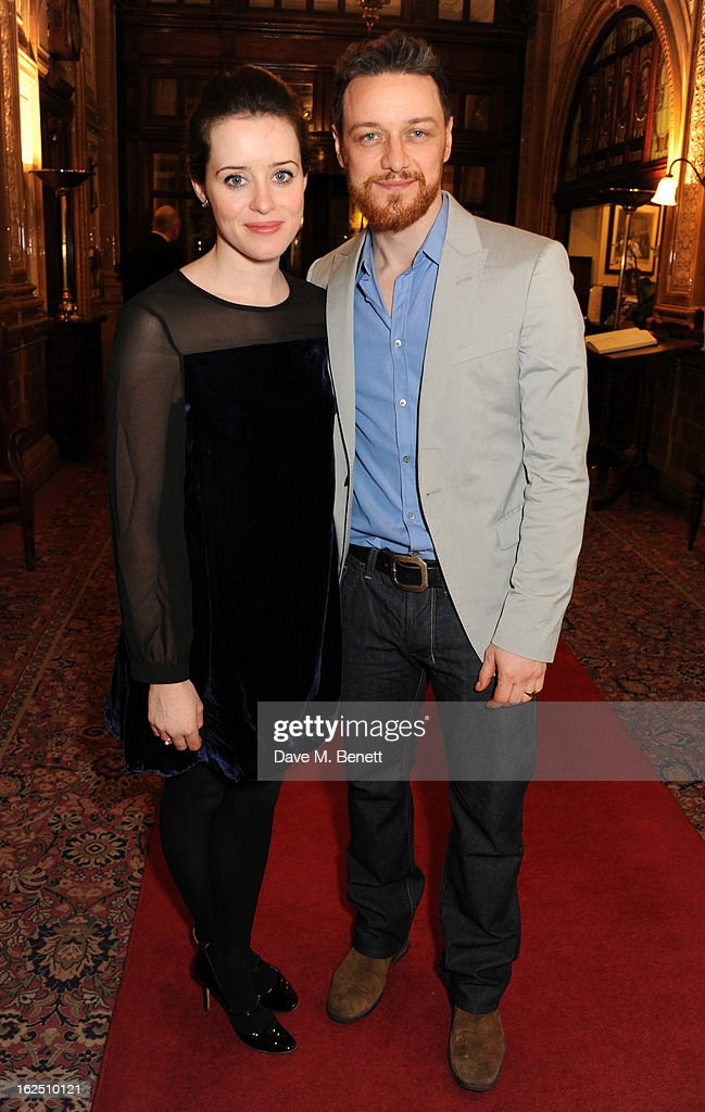<a gi-track='captionPersonalityLinkClicked' href=/galleries/search?phrase=Claire+Foy&family=editorial&specificpeople=5656059 ng-click='$event.stopPropagation()'>Claire Foy</a> and <a gi-track='captionPersonalityLinkClicked' href=/galleries/search?phrase=James+McAvoy&family=editorial&specificpeople=647005 ng-click='$event.stopPropagation()'>James McAvoy</a> attend the 'Macbeth' after party at One Whitehall Place on February 22, 2013 in London, England.