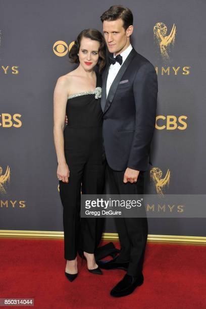 Claire Foy and Matt Smith arrive at the 69th Annual Primetime Emmy Awards at Microsoft Theater on September 17 2017 in Los Angeles California