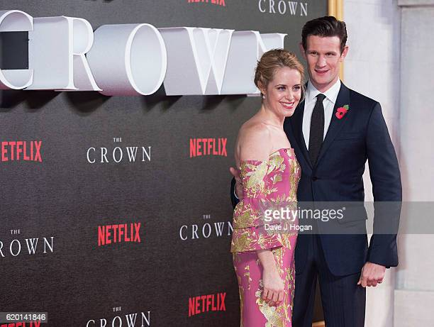 Claire Foy and Matt Smith attend the World Premiere of new Netflix Original series 'The Crown' at Odeon Leicester Square on November 1 2016 in London...