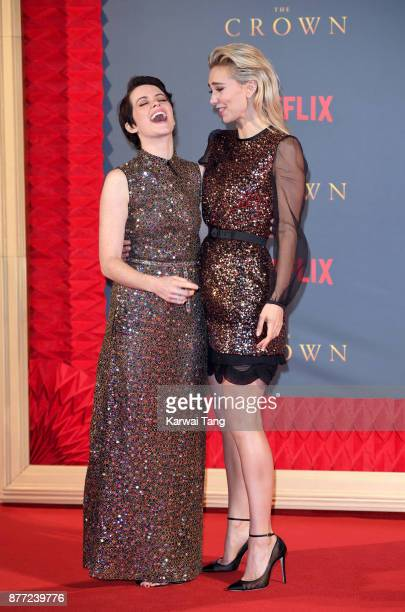 Claire Foy and Vanessa Kirby attend the World Premiere of Netflix's 'The Crown' Season 2 at Odeon Leicester Square on November 21 2017 in London...