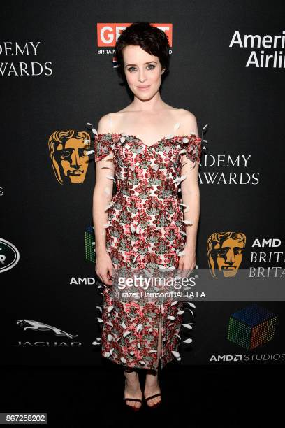 Claire Foy attends the 2017 AMD British Academy Britannia Awards Presented by American Airlines And Jaguar Land Rover at The Beverly Hilton Hotel on...