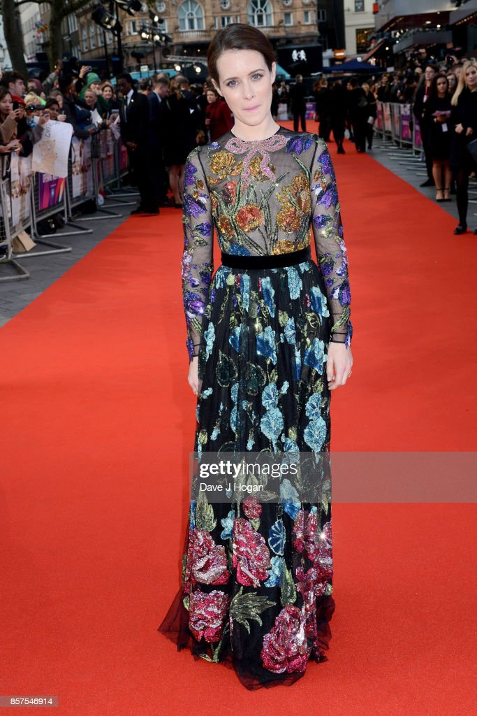 Claire Foy attends the European Premiere of 'Breathe' on the opening night gala of the 61st BFI London Film Festival on October 4, 2017 in London, England.