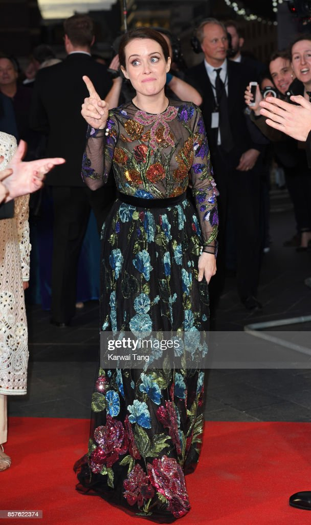 Claire Foy attends the European Premiere of 'Breathe' on the opening night Gala of the 61st BFI London Film Festival at the Odeon Leicester Square on October 4, 2017 in London, England.