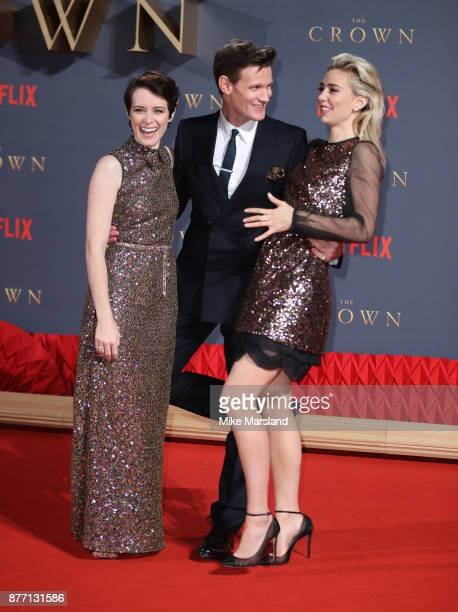 Claire Foy Matt Smith and Vanessa Kirby attends the World Premiere of season 2 of Netflix 'The Crown' at Odeon Leicester Square on November 21 2017...