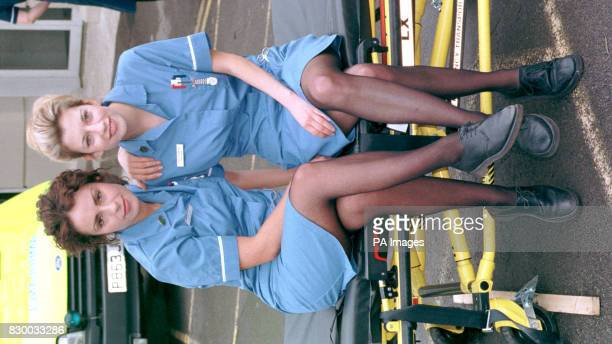 Claire Goose who plays nurse Tina Seabrook in the BBC series CASUALTY is joined at a photocall in Bristol today by Jan Anderson who will play new...