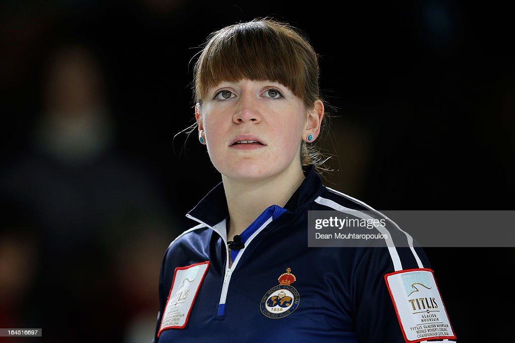 Claire Hamilton of Scotland looks on during the Gold medal match between Sweden and Scotland on Day 9 of the Titlis Glacier Mountain World Women's Curling Championship at the Volvo Sports Centre on March 24, 2013 in Riga, Latvia.