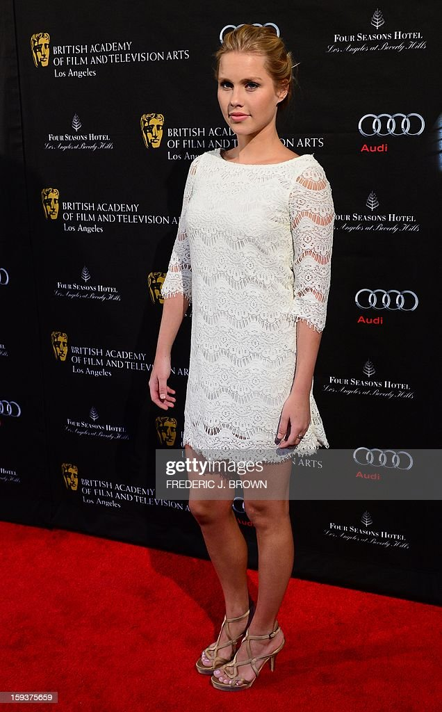 Claire Holt poses on arrival for the British Academy of Film and Television Arts (BAFTA) Los Angeles Awards Season Tea Party on January 12, 2013 in Beverly Hills, California. AFP PHOTO / Frederic J. BROWN