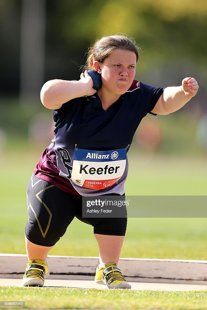 Claire Keefer of QAS competes in the womens shot put during the IPC Athletics Grand Prix on February 6, 2016 in Canberra, Australia.