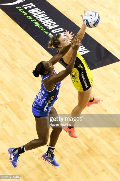 Claire Kersten of the Pulse and Sasha Corbin of the Mystics compete for the ball during the New Zealand Premiership match between the Pulse and the...
